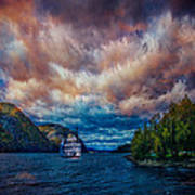 Steamboat On The Hudson River Art Print