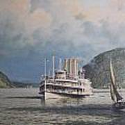 Steamboats On Newburgh Bay William G Muller Art Print by Jake Hartz