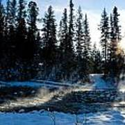 Steaming River In Winter Art Print