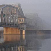 Steel Bridge In Morning Fog Art Print