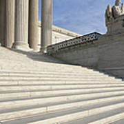 Steps And Statue Of The Supreme Court Building Art Print by Roberto Westbrook