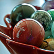 Still Life Crosses Reflected In Bowl Of Glass Marbles Art Prints Art Print