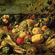 Still Life Of Fruits And Vegetables Art Print