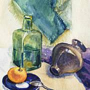 Still Life With Green Bottle Art Print