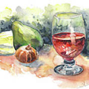 Still Life With Red Wine Glass Art Print