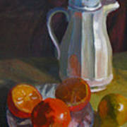 Still Life With White Carafe And Oranges Art Print