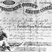 Stock Certificate, 1853 Art Print