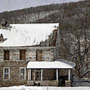 Stone Farmhouse In Snow Art Print by John Stephens