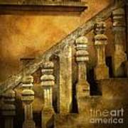 Stone Stairs And Balustrade. Art Print by Bernard Jaubert