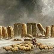 Stonehenge In Winter  Art Print by Walter Williams