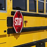 Stop Sign On A School Bus Art Print by Skip Nall