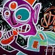Strange Graffiti Creature Eating Sausages Art Print