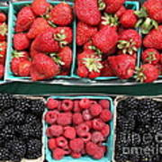Strawberries Blackberries Rasberries - 5d17809 Print by Wingsdomain Art and Photography