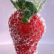 Strawberry In Soda Art Print by Soultana Koleska
