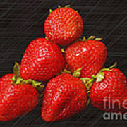 Strawberry Pyramid On Black Art Print by Andee Design