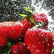 Strawberry Splatter Art Print by Colin J Williams Photography