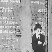 Street Graffiti Art - The Little Tramp Bw Art Print