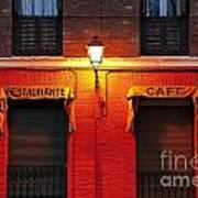 Street Lamp Cafe Art Print