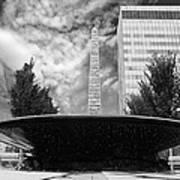 Street Photography Downtown Asheville Fountain  Art Print