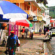 Street Scene In Rosea Dominica Filtered Art Print