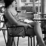 Stripped Dress Lady Art Print