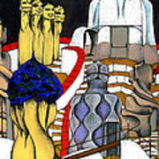 Studying Gaudi Art Print