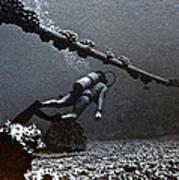 Submarine Telephone Cable And Diver - Hanauma Bay 1973 Art Print