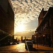 Summer Sunset Over A Cobblestone Street - New York City Art Print