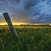 Summer Thunderstorm And Fencepost Art Print