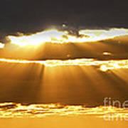 Sun Rays At Sunset Sky Print by Elena Elisseeva