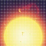 Sun Reflected In A Solar Panel Art Print
