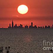 Sun Setting Over Chicago Art Print