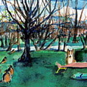 Sunbathing With Friends Art Print by Mindy Newman