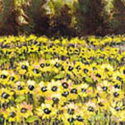 Sunflower Field Series W Silver Leaf By Vic Mastis Art Print