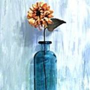 Sunflower In A Beach Bottle Art Print by Marsha Heiken