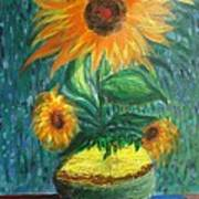 Sunflower In A Vase Art Print by Prasenjit Dhar
