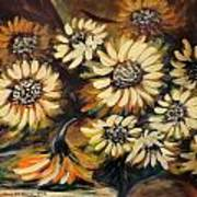 Sunflowers 12 Square Painting Art Print