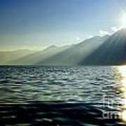 Sunlight Over A Lake With Mountain Art Print