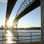 Sunrise Blue Water Bridges Art Print