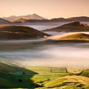 Sunrise In Castelluccio Di Norcia In Morning Fog Art Print