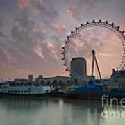 Sunrise London Eye Art Print by Donald Davis