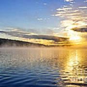 Sunrise On Foggy Lake Art Print