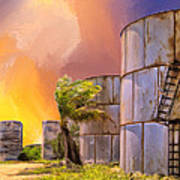 Sunset And Abandoned Oil Tanks Art Print