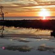 Sunset And Tidal Pool Cape Charles Va Art Print