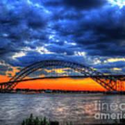 Sunset At The Bayonne Bridge Art Print