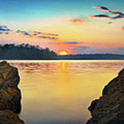 Sunset Between The Rocky Shore Art Print