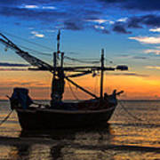 Sunset Fisherman Boat Huahin Thailand Art Print