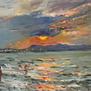 Sunset In Aegean Sea Art Print