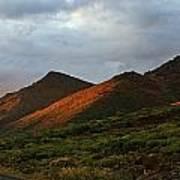 Sunset Light Hitting The Mountains Art Print