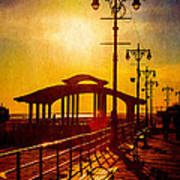 Sunset On The Boardwalk Art Print